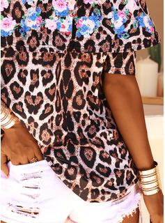 leopardo Stampa Fuori dalla spalla 1/2 maniche Casuale Camicie