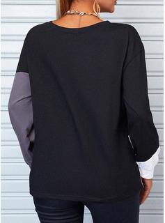 Blocchi di colore Una spalla Maniche lunghe Casuale Reggiseno Tshirt