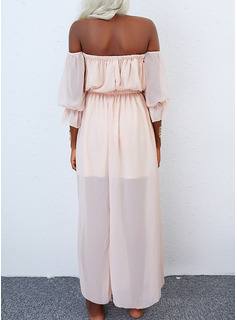 Solid A-line Long Sleeves Maxi Casual Vacation Skater Dresses