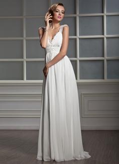 Väldet V-ringning Sweep släp Chiffong Tyll Bröllopsklänning med Rufsar Spets Beading