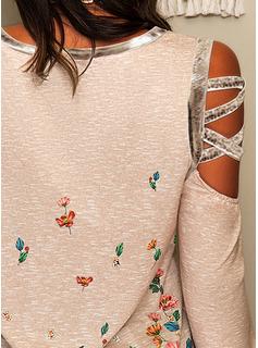 Blomster Print Kolde skulder Lange ærmer Casual Skjorter
