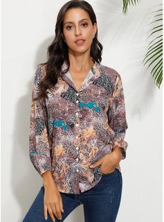 Print Lange ærmer Polyester rund hals Shirt Skjorter Bluser