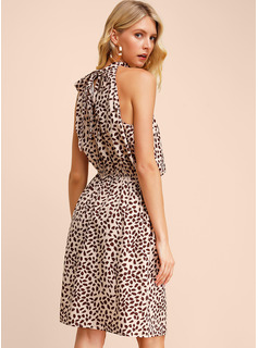 Print Kjole med A-linje Ærmeløs Mini Casual Mode kjoler