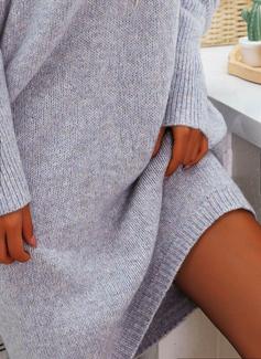 Sólido Vestidos soltos Manga Comprida Midi Casual Túnica Vestidos na Moda
