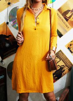 Solid Shiftklänningar Långa ärmar Midi Fritids Skjortklänningar Modeklänningar