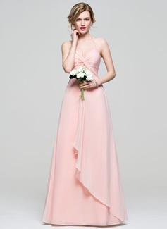 Empire Halter Floor-Length Chiffon Bridesmaid Dress With Cascading Ruffles