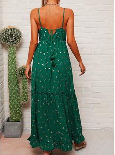 水玉模様 Aラインワンピース ノースリーブ マキシ カジュアル 休暇 タイプ ファッションドレス