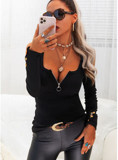 Solid Cold Shoulder Long Sleeves Button Up Sexy Blouses