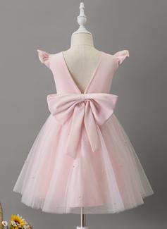 A-Line Knee-length Flower Girl Dress - Tulle Sleeveless Scoop Neck With Ruffles/Beading/Bow(s)