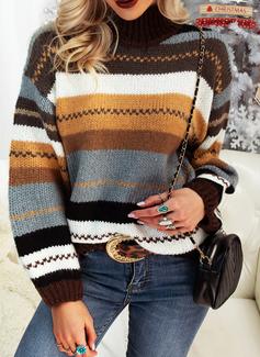 タートルネック カジュアル 縞模様の チャンキー・ニット セーター