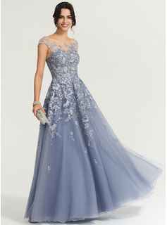 A-Line/Princess Scoop Neck Floor-Length Tulle Evening Dress