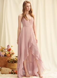 A-linjeklänning V-ringning Ärmlös Asymmetrisk Ryggdetaljer Romantiskt Sexig Modeklänningar