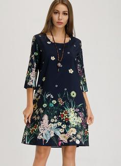 フローラル 印刷 シフトドレス 3/4袖 ミディ 生きます カジュアル Tシャツ チュニック ファッションドレス