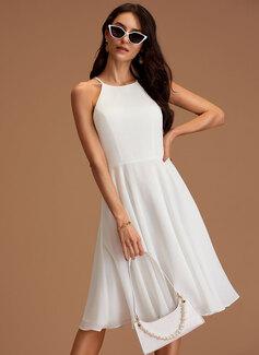 A-line Round Neck Sleeveless Midi Romantic Dresses