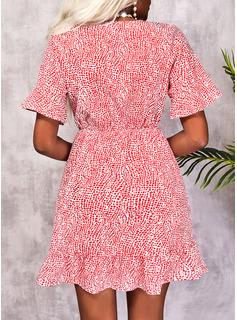 Print A-line Short Sleeves Mini Casual Skater Wrap Dresses