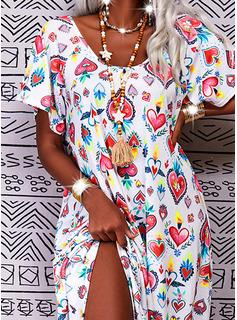 Floral Impresión Corazón Vestidos sueltos Manga Corta Maxi Casual Vacaciones Vestidos de moda