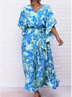 Kwiatowy Nadruk Suknie shift Rękawy 1/2 Rozkloszowane rękawy Maxi Boho Wakacyjna Modne Suknie