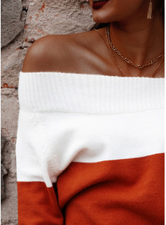 Off the Shoulder Casual Color Block Sweaters