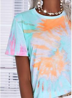 Tie Dye Cuello Redondo Manga Corta Casual camiseta