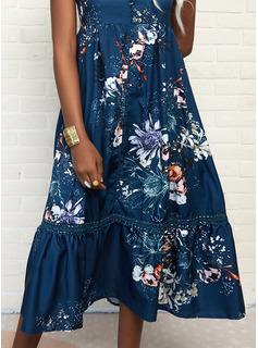 Floral Encaje Impresión Vestido línea A Manga Corta Maxi Casual Patinador Vestidos de moda