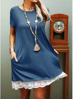 Lace Solid Shift Short Sleeves Midi Casual T-shirt Dresses