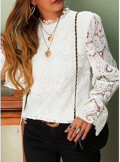 Lace Solid Stand collar Flare Sleeve Long Sleeves Casual Blouses