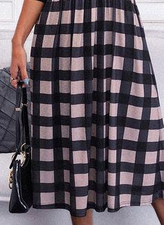 Kariert A-Linien-Kleid Lange Ärmel Midi Elegant Skater Modekleider