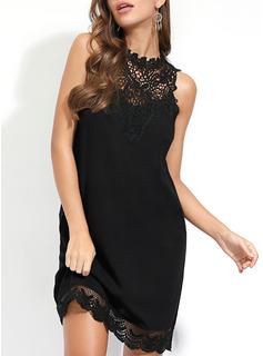 Blonder Solid Skiftekjoler Ærmeløs Mini Den lille sorte Casual Mode kjoler