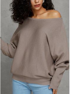 One-Shoulder Fritids Sexig Solid Tröjor