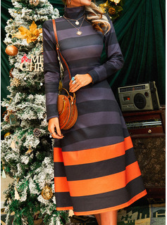 Farbblock A-Linien-Kleid Lange Ärmel Midi Lässige Kleidung Skater Modekleider