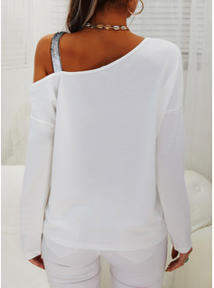 Figure Print Sequins One Shoulder Long Sleeves Casual Blouses