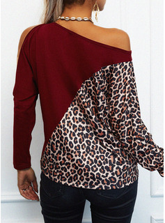 Leopardo Trozos de color Un Hombre Manga Larga Casual Blusas