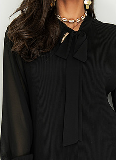 Solid Skiftekjoler Lange ærmer Mini Den lille sorte Elegant Tunika Mode kjoler