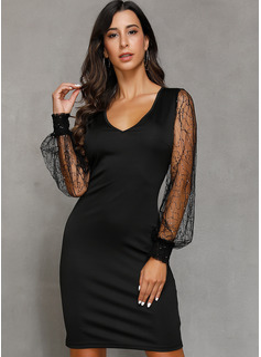 Lace Solid Sheath Lantern Sleeve Long Sleeves Mini Little Black Party Elegant Dresses