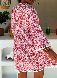 印刷 シフトドレス 3/4袖 フレアスリーブ ミニ 生きます カジュアル 休暇 チュニック ファッションドレス