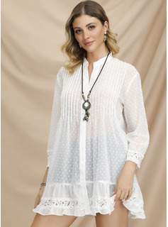 Lace Solid V-Neck Long Sleeves Button Up Casual