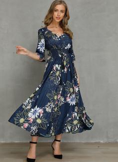 Maxi V neck Polyester Button/Print 1/2 Sleeves Fashion Dresses