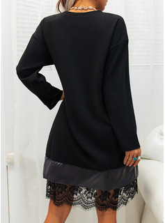 Lace Solid Shift Long Sleeves Midi Little Black Elegant Tunic Dresses