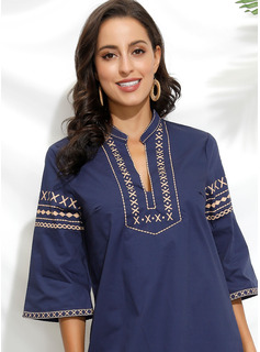 Knee Length V neck Polyester Print 3/4 Sleeves Fashion Dresses