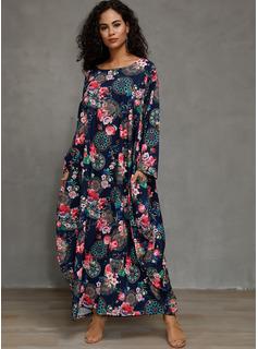 Kwiatowy Nadruk Suknie shift Rękawy 3/4 Maxi Nieformalny Modne Suknie