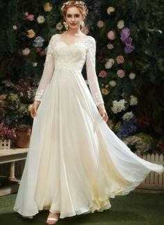 A-Linje V-ringning Golvlång Bröllopsklänning med Spets Paljetter