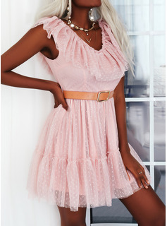 PolkaDot A-line Short Sleeves Mini Elegant Skater Dresses