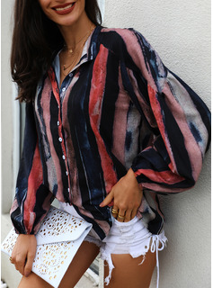 A righe Scollatura a V 3/4 maniche Bottone Casuale Shirt and Blouses