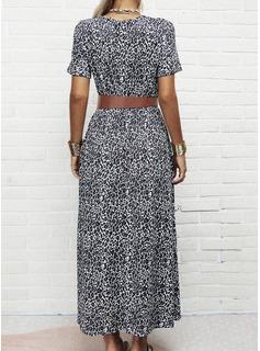 Leopard Kjole med A-linje Korte ærmer Maxi Casual skater Mode kjoler