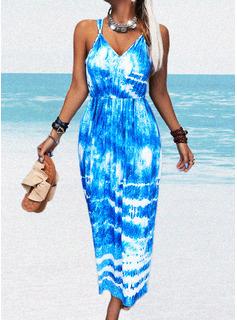 Tie Dye A-line Sleeveless Maxi Casual Skater Dresses