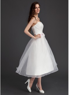 A-Line/Princess Sweetheart Tea-Length Organza Homecoming Dress With Ruffle Sash Flower(s)