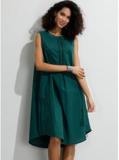 knælange rund hals Bomuld Solid Uden Ærmer Mode kjoler
