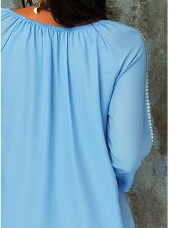 Impresión Vestidos sueltos Manga Larga Mini Boho Casual Vacaciones Túnica Vestidos de moda