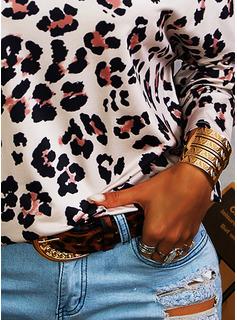 leopardo Fuori dalla spalla Maniche lunghe Casuale Camicie