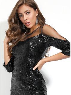 スパンコール シースドレス 長袖 ミディ リトルブラックドレス パーティー ファッションドレス